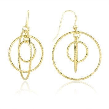 14K Yellow Gold Concentric Multi-Circle Diamond Cut Drop Earrings
