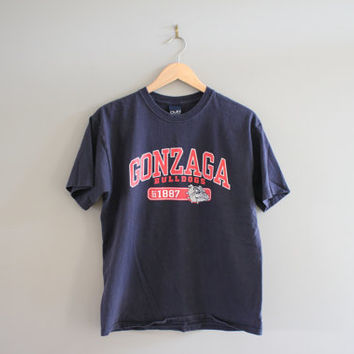Gonzaga Bulldogs Graphic Tshirt Navy Blue Cotton Vintage 90s Size M #T138A