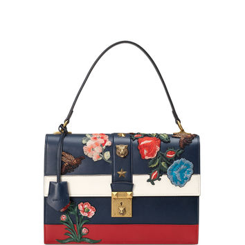 Embroidered Riche Stripe Shoulder Bag, Blue/Red