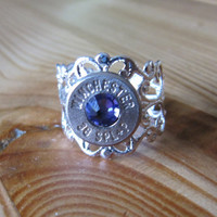 38 Special Bullet Ring with Purple Heliotrope Swarovski Crystal Accent - Small Thin Cut - Girls with Guns
