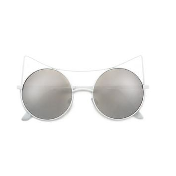 Women Eyewear High Pointed Brow Bar Circle White Cat Eye Sunglasses