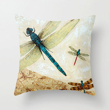 Throw Pillow Cover Dragonfly Dragonflies Zen Art Design Home Sofa Bed Chair Decor Artsy Decorating Made Easy Living Room Bedroom Bedding