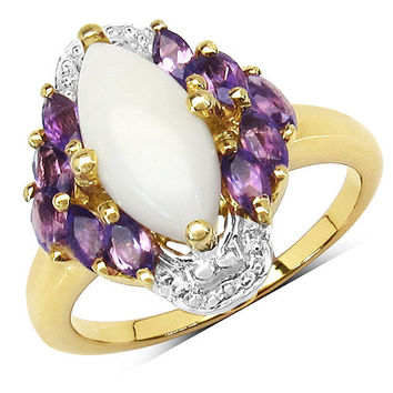 14K Yellow Gold Plated 2.00 Carat Genuine Opal & Amethyst .925 Sterling Silver Ring