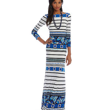 Eliza J Mixed-Print Maxi Dress | Dillards