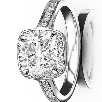 d.1.25 Ctw 14K White Gold Classic Square Halo GIA Certified Designer Diamond Engagement Ring Cushion Cut (1 Ct I Color VS1 Clarity Center Stone)