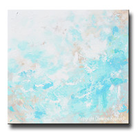 ORIGINAL Art Blue Abstract Painting Textured Coastal Beach Artwork Light Aqua Blue Green White Beige