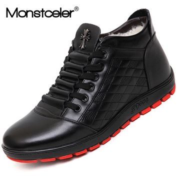 Monstceler Handmade Sheep Fur Men Boots Rubber Sole Casual Shoes Fashion Brand Men's Ankle Boots Sneakers M8536