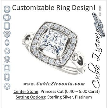 Cubic Zirconia Engagement Ring- The Deb (Customizable Princess Cut Design with Large Halo, Fleur-de-lis Trellis and Bubbled Infinity Band)