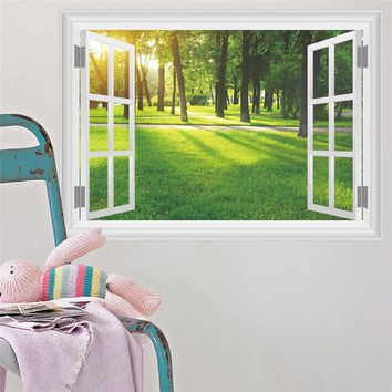 Forest Green Tree River Window Scenery 3D Wall Sticker Vinyl Mural Art for Kids Room Living Room Sofa Background Decoration