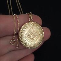 """10K Solid GOLD Antique LOCKET Fleur de Lis ROCOCO Scrolls Engraved Flowers Frames Photo Covers Long 24"""" Chain Signed, Valentines Gift Her"""