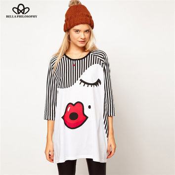 2015 spring summer Factory outlets new half sleeve eyelashes red lips adorable girl print striped crewneck t shirt top