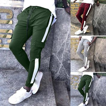 Mens Joggers with Patchwork and Drawstring
