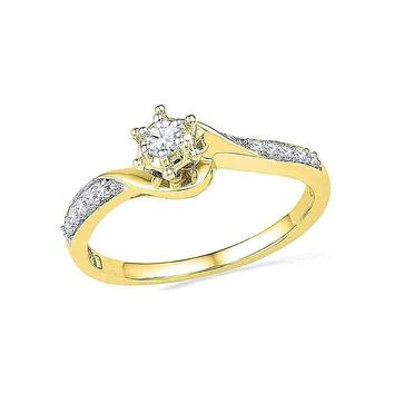 10kt Yellow Gold Women's Round Diamond Solitaire Bridal Wedding Engagement Ring 1/6 Cttw - FREE Shipping (US/CAN)
