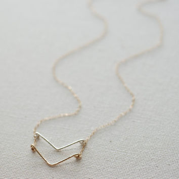Double Chevron Necklace, Sterling Silver and 14k gold Filled Chevron Charm,Chevron Necklace,Layer Arrow Necklace,Dainty Chevron Pendant