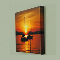 art Sailboat canvas print sunset photo ocean love gift 8 x 10 solid wood frame