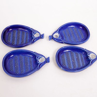 Vintage Four Cobalt Blue Butter Pats Tea Bag Rests Open Salt Spoon Rest Dipping Dishes Pin Dish Ceramic Pottery
