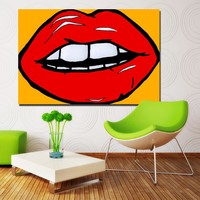 2016 Top Hotsale Andy Warhol Pop Art Lips Abstract painting wall art canvas printed painting for living room decoration Unframed