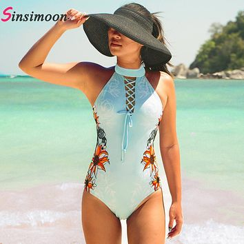 New High Neck One Piece Bathing Suit Retro Vintage Bathing Suit Sexy Floral Bathing Suit Bandage Swimwear Bodysuit Beachwear