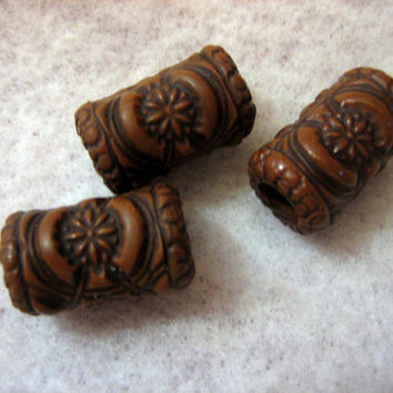 Dread Beads Wood Look Embossed Dreadlock  Beads  Set of 3   You Choose Hole Size