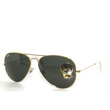 Cheap Best Deal*RAY-BAN SunglaSSeS 3025 001 GOLD/GREEN RAYBAN LARGE AVIATORS 62