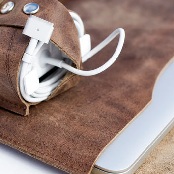 Macbook Charger Extension Cord Bag Rustic Leather