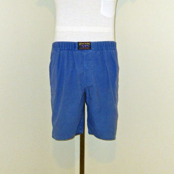 Vintage Rad 80s OCEAN PACIFIC Beach Skate Blue Velcro Waist Men Small Surf Long Board SHORTS