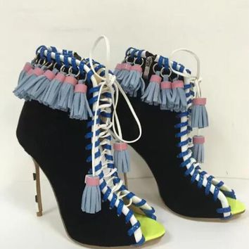 Multi Color Lace Up Open Toe Fringe High Heel Ankle Boots