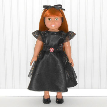 18 inch Girl Doll Black Special Occasion Dress with Jeweled Tulle  American Doll Clothes