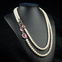 Real Natural Pearl Long Necklace ,Pink Opal Rose Pendant