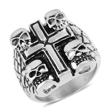 Black Oxidized Stainless 4 Skull and Cross Steel Ring