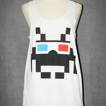 Alien Space Invader 3D Glasses White Tank Top Sleeveless Art Indie Rock Singlet T-Shirt Size S