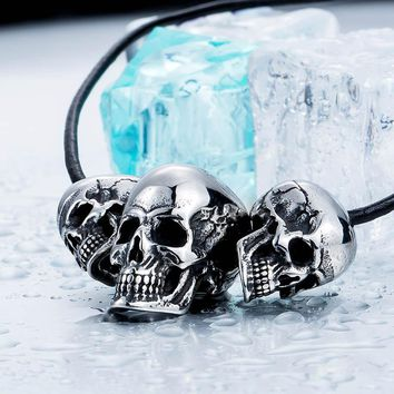 316L Stainless Steel Punk Skull Biker Pendant Necklace Fashion charm Jewelry