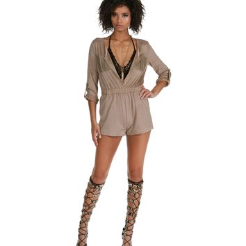 Promo- Taupe Run It Romper