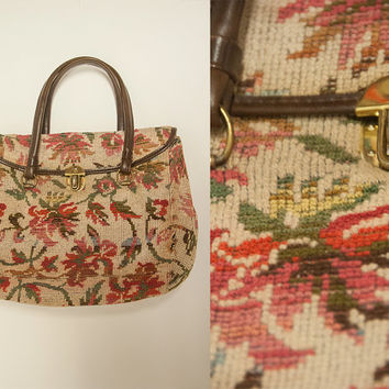70s Tapestry Carpet Doctor Bag | Large Boho Vintage Handbag Leather Floral Tote Large Purse | Hippie Embroidered Ethnic