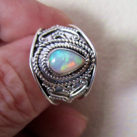 Sterling opal ring 925 opal ring silver opal ring genuine Welo opal ring sterling Welo opal jewelry size 8 1/2 opal ring on sale clearance