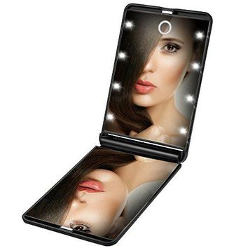 Portable Makeup Mirror Dimmable 8 LEDs Lighted Mirror 1X & 2X Magnification Cosmetic Illuminated Handbag Mirror Foldable Double Facettes Pocket Mirror Folding Compact Mirror for Travel Purse