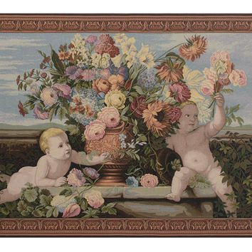 Angels and Flowers Tapestry Wall Art Hanging