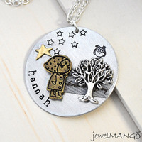 Custom Art necklace, personalized jewelry, special gifts, tree, owl, girl, star, hand stamped, name necklace, keepsake, one of a kind gift,
