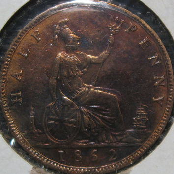 1862 Great Britain Victoria Half Penny British Copper Coin With Excellent Details