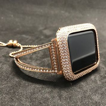 Apple Watch Band Bangle Cuff 38mm 40mm 42mm 44mm Rose Gold Women Series 1 2 3 4 Rhinestone Crystal/Case Cover Bezel Lab Diamond Iwatch Bling