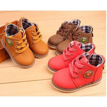 Spring/Autumn Boys Girls shoes Winter Kids Ankle Snow boots botas Breathable Lace-Up Children Martin boots Flats 02