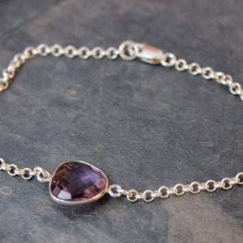 Amethyst bracelet, 925 sterling silver, rolo chain, February birthstone, purple gemstone, handmade bracelet, February birthday, SIZE 7.25""