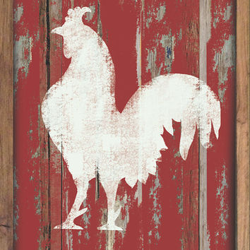 Wooden Rooster sign framed out in reclaimed wood in blue, yellow, mint green or red.  Handmade.  Approx. 19.5x14x2 inches.