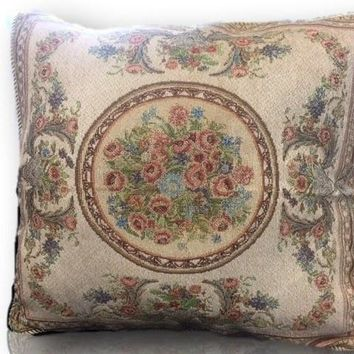 Tache 2 PC French Floral Chenille Woven Roman Garden Throw Pillows (DSC0023/LOUISA-2PCCC)