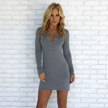 Good Morning Sweater Dress in Grey