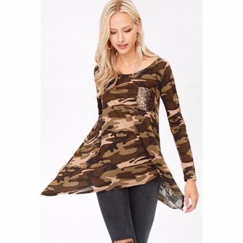 Camo Tunic Top with Sequin Pocket