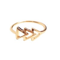 Gold Geometric Arrow Ring