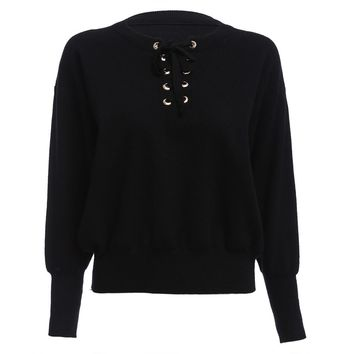 Fashion Round Collar Criss-cross Long Sleeve Pure Color Warm Women Sweater