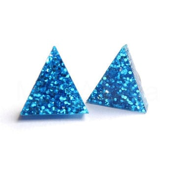 Blue Glitter Triangle Stud Earrings,Frozen Earrings,Glitter Jewelry,Sparkle Earrings,Geometric Jewelry,Tiny Pyramid Studs (E245)