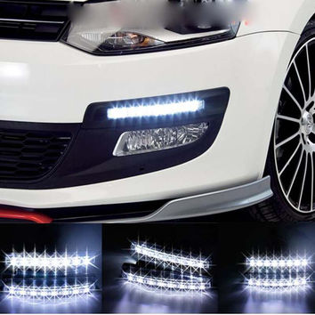 High Quality 1pc Car External Light 8 LED Super Bright Car DRL Daytime Running Light Daylight Bulb Head Lamp White Hot Item